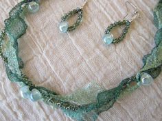 Seafoam and Emerald Green Wire Lace by EndlessElegancebyKat, $44.00