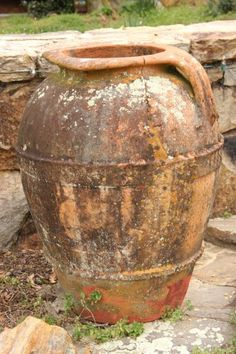 Italian Olive Oil Jar...Italian Antique...but keep inside in winter so they won't freeze and crack...