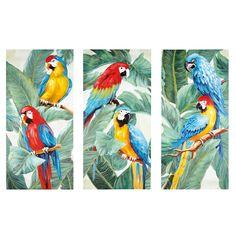 Triptyque toiles perroquets 270x190 | Maisons du Monde