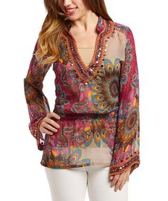 Look at this #zulilyfind! Monique Leshman Peacock Embellished Signature Silk Tunic by Monique Leshman #zulilyfinds