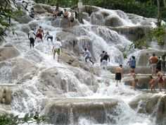 Dunns River Falls in Ocho Rios Jamaica.  We visited this spot many years ago, beautiful!