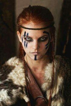 Female Viking Warriors - Viking Maidens viking warrior vikings champions norse winter is coming Celtic Warriors, New Warriors, Female Warriors, Amazon Warriors, Krieger Make-up, Viking Makeup, Vikings, Warrior Makeup, Tribal Makeup