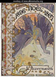 Couverture Pour LIllustration. 1896-Noel-1897 - Alphonse Maria Mucha - www.alfonsmucha.org