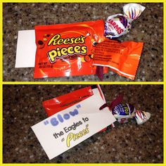 """Week - """"Blow the Eagles to pieces!"""" Reese's Pieces and a Charms Blow Pop tied together with ribbon. Cheer Treats, Football Treats, Football Spirit, Football Cheer, Cheer Gifts, Football Boys, Cheer Mom, Team Gifts, Football Season"""