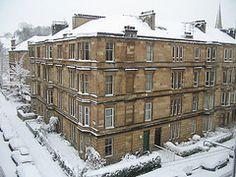 Snowy Glasgow tenement