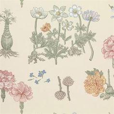 Gretatyget kommer med ett klassiskt blommönster med många olika kombinationer i tapet och matchande tyg som passar utmärkt både som gardin eller som möbeltyg.