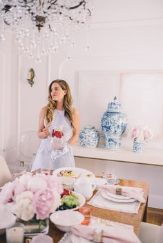 Gal Meets Glam Summer Spread - Dinnerware, Serving Dishes, Linens Napkins and blue vases c/o Horchow