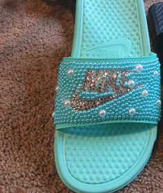 Hey, I found this really awesome Etsy listing at https://www.etsy.com/listing/291610541/bling-nike-slides-with-swarokski