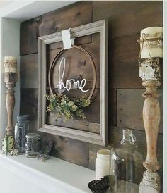 Besides the obvious choice of mounting a television on a fireplace mantle this could also be an alternative option Rustic Farmhouse Decor, Farmhouse Windows, Farmhouse Living Room Furniture, Country Primitive, Fixer Upper, Bathroom Medicine Cabinet, Porch, Backyard, Ladder Decor
