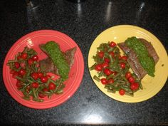 Grilled steak w/seasoned green beans and tomatoes and homemade chimichurri sauce - 300 calories -YUM YUM!    I seasoned the steak w/sea salt, fresh ground pepper & a touch of garlic powder & worchestershire sauce.  I seasoned the veggies w/Italian seasoning.  Chimichurri sauce: 3/4 C cilantro, 2 cloves garlic, 1 jap, 2T EVOO, 1 1/2 T red wine vinegar, 1 T salt, 1 T cracked pepper, 1/2 tsp Old Bay seasoning. Blend in food processor.  YUM YUM!