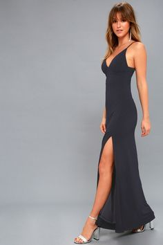d1ae794c646c Roll up in style in the Limousine Queen Navy Blue Maxi Dress!
