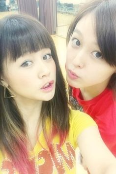 Kusumi Koharu (right) together with Niigaki Risa (left), another former Morning Musume member.  Rehearsing for an 8/13/13 event that I wish I could attend.  Nice to see two of my favorites together...