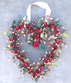 Fall wreath   Heart Shaped wreath  red roses  by laurelsbylaurie, $55.00