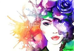 """woman face.abstract watercolor .fashion background"""" Stock photo ..."""