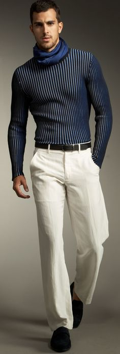 +blue stretch shirt +blue scarf +black belt +white pants +black loafers
