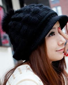 Pure Color Thickening Cony Hair Knit Beanie
