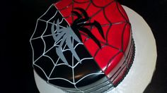 Black and Red Spiderman cake