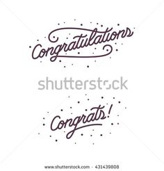Congratulations. Hand lettering illustration. Calligraphic greeting inscription. Vector handwritten typography. Trendy design element for greeting cards, prints and posters. - stock vector