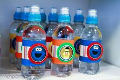 Sesame Street Themed 3rd Birthday Party with Lots of Cute Ideas via Kara's Party Ideas: Drink Bottles