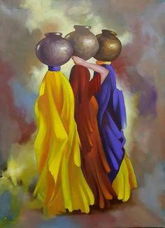 Women of the Nile River Oil Pastel Art, Oil Pastel Drawings, Cool Art Drawings, Rajasthani Painting, Rajasthani Art, African Art Paintings, Modern Art Paintings, Art Painting Gallery, Indian Folk Art