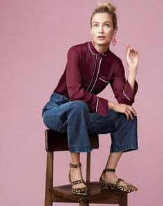 J.Crew women's silk pajama top, Rayner wide-leg jean with tie, floral cascade earrings and double-strap flats in leopard.