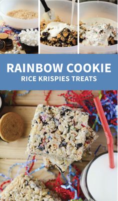 Make going back to school fun with this colorful, Oreo-studded variation of the classic Rice Krispie Treats - or just transport yourself back to childhood! Rice Krispy Treats Recipe, Rice Krispie Treats, Rice Krispies, Rainbow Cookie, Rainbow Sprinkles, Marshmellow Treats, Chocolate Cream, Cookies And Cream, Dessert Bars