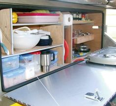 DIY Camper Trailer Kitchen | Great kitchen | Camping trailer DIY | Pinterest