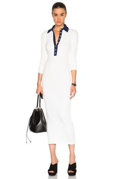 Image 1 of Smythe Knit Polo Dress in White & Navy