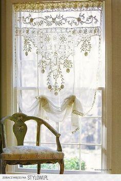 Shabby chic curtains ideas window treatments home decor New Ideas Purple Home, Decoration Shabby, Shabby Chic Decor, Window Coverings, Window Treatments, Rideaux Shabby Chic, Lace Curtains, Drapery, Green Curtains