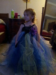 Flower girl dress. So easy just looped Tulle thru a crochet tube top.