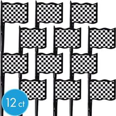 Plastic Black and White Checkered Flag Picks for cupcakes - Party City Super Mario Birthday, Mario Birthday Party, Super Mario Party, Birthday Party Themes, 3rd Birthday, Birthday Ideas, Monster Truck Cupcakes, Monster Truck Birthday, Monster Trucks