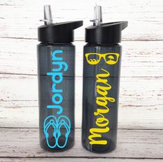 Flip Flop Water Bottle - Sun Glass Tumbler - Personalized Beach Water Bottles - Summertime Tumblers - Kids Summer Birthday Gift - Tumblers by SimplyGracefulDesign on Etsy
