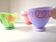 Care for a spot of tea?   Sunghee over at Creativity in Progress made lovely little tea cups out of plastic eggs and I fell in love with...