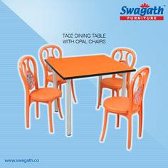 TA02 dining #table with Opal #chairs can match your dining room requirements. Get more details on the available attractive colours at www.swagath.co !!