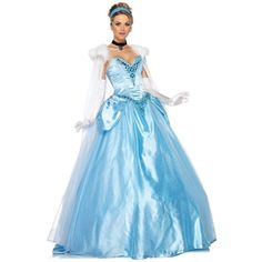 Cinderella Classic Blue Ball Gown with Glass Shoes