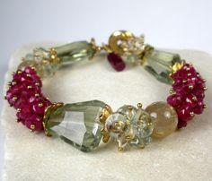 Ruby Bracelet with Prasiolite Citrine Rutilated by FebraRose, $359.00
