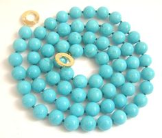 12mm 36 sky-blue turquoise beads necklace 9k clasp $69.99