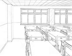 This classroom setting has a great level of detail – note the intricate seats and desks. The horizon line is positioned at the expected level for human eyes, with the vanishing point to the left of the image, suggesting that this might be what someone sees if they stand in the doorway of the room (note that the vanishing point doesn't need to be directly in the centre of the page – this is a common misconception).