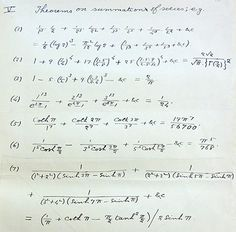 Remarkable formulas in Ramanujan's letter (Reproduced by kind permission of the Syndics of Cambridge University Library)