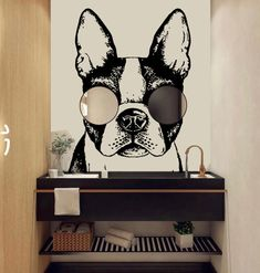 Bathroom Wall Decals, Vinyl Wall Decals, Wall Sticker, Bathroom Mirrors, Puppy Room, Dog Grooming Shop, Clinic Design, Vinyl Gifts, Painting Quotes