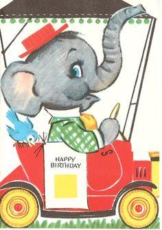 ┌iiiii┐                                                              Happy Birthday Vintage Birthday Card