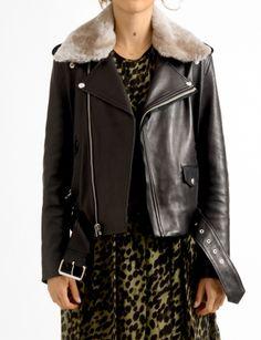 mape shearling leather crop jacket