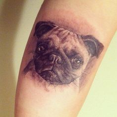 Memorial tattoo of Bo, the pug who sadly passed away at the age of 9 months, tattooed by Allan Rivera at True at Heart Tattoo.