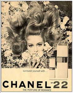 Vintage ad for Chanel No22 perfume, with Catherine Deneuve