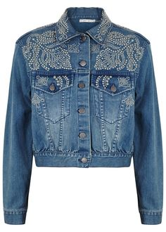 Alice + Olivia blue stretch denim jacket Cropped, studded, chest pockets, button-fastening cuffs and hem tabs Button fastenings through front 99% cotton, 1% elastane