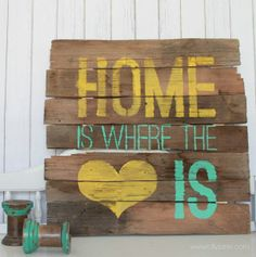 Where would you hang Kelli's piece of pallet art stenciled with our Home is Where the Is stencil? Lolly Jane is hosting a $50 stencil giveaway on their blog. Go Enter! http://lollyjane.com/home-is-where-the-heart-is-sign/ Read the blog to learn how to create your own! http://blog.cuttingedgestencils.com/?p=9521 #stencil #giveaways