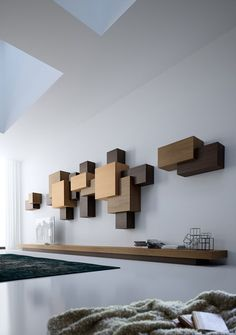 DSIGNIO's Collage Collection is a system of shelving and cabinetry based on the Suprematist art movement (with a dash of Cubism and sprinkle of Neoplasticism! Shelf Design, Cabinet Design, Wall Shelves, Shelving, Flur Design, Muebles Living, Interior Decorating, Interior Design, Wooden Wall Art