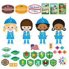 Printable Clipart Clip Art Digital PDF PNG File - Girl Scout Girl Patch Pin Badge Award 4