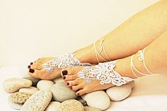 LUX Wedding White Lace Jewelry  Barefoot by ArtofAccessory on Etsy, $25.00