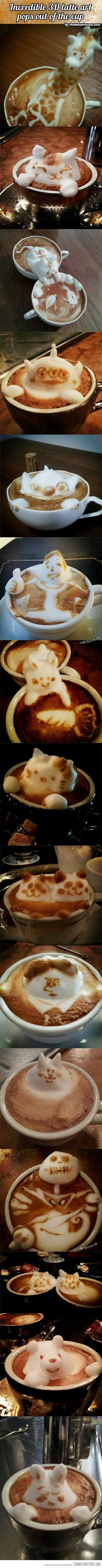 Latte art comes to life… more ! Wish I knew who & where this is, amazing!